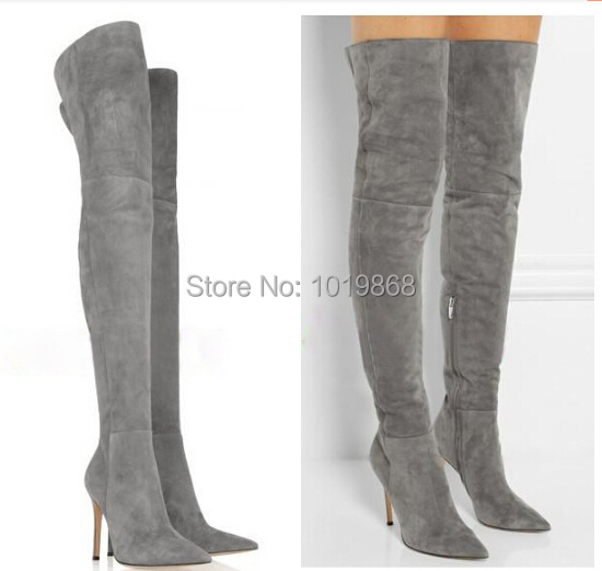 Wholesale suede boot high heel slim thigh high boots grey