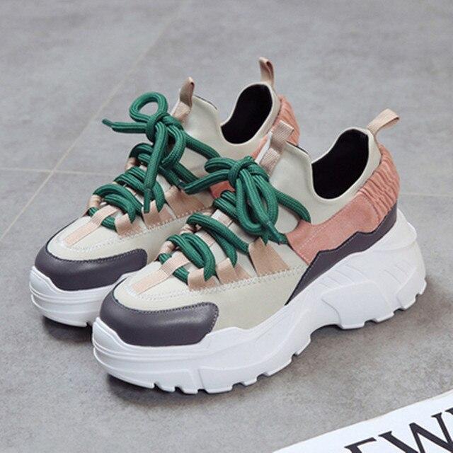 Женские сникерсы, новинка 2018 года, модная женская повседневная обувь, тренды, женская обувь на плоской платформе, весна-осень, обувь на шнуровке, женская обувь, Size35-40