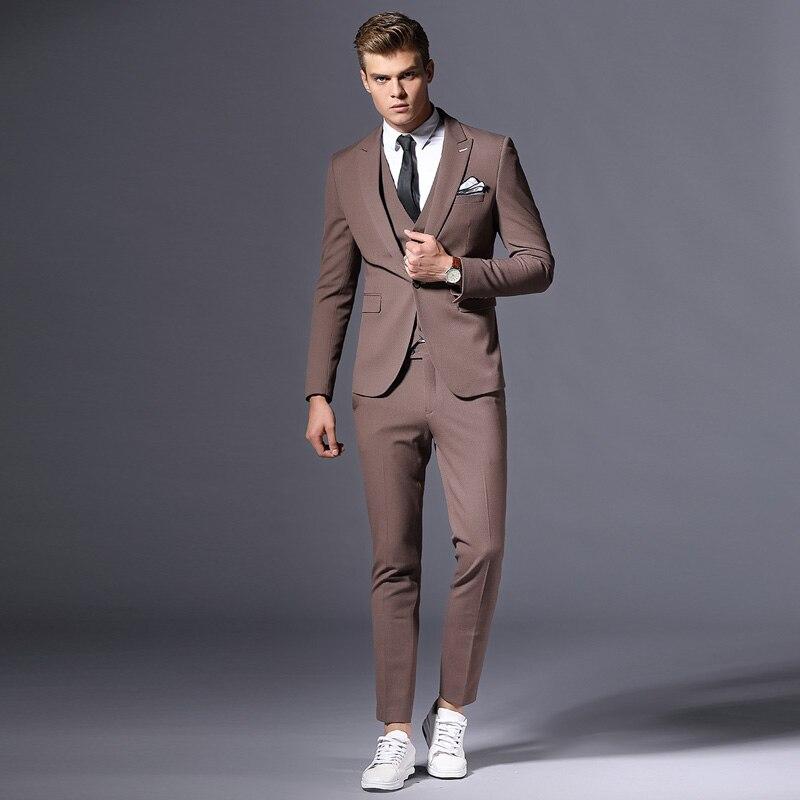 Venta de chaqueta de marca para hombre, chaqueta Formal de negocios, chaqueta de novio de tres piezas, ropa de fiesta ajustada, vestido de boda de un solo botón - 4