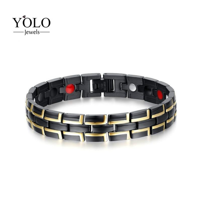 Hommes acier inoxydable Noir Bracelet magnétique Hommes acier inoxydable Hommes Bracelet Main Chaîne Germanium D'énergie Hologramme Bracelet