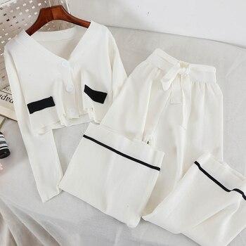 2019 nowych moda damska dwuczęściowy zestaw Vintage dzianiny dwuczęściowy garnitur 3368