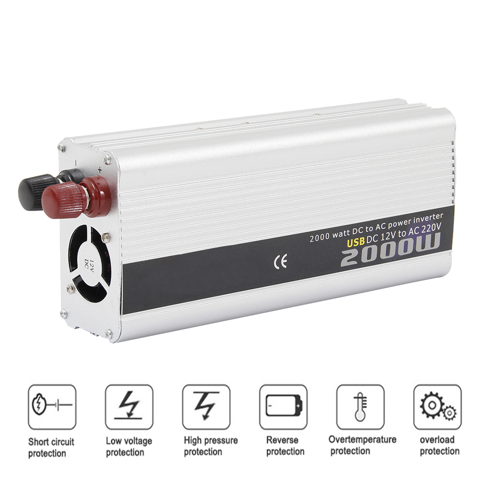 Dual USB 2000W Watt DC 12V To AC 220V Portable Car Power Inverter Charger Converter Adapter DC 12 To AC 220 Modified Sine Wave e13005 mje13005 to 220