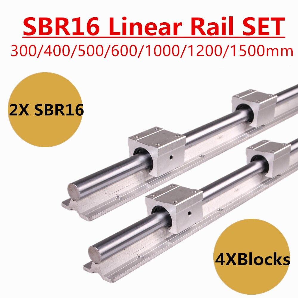 2pcs SBR16 16 milímetros Trilho de Guia Linear 300 400 500 600 1000 1200 1500 milímetros Totalmente Apoio de Slides + 4pcs SBR16UU Bloco Rolamento Linear