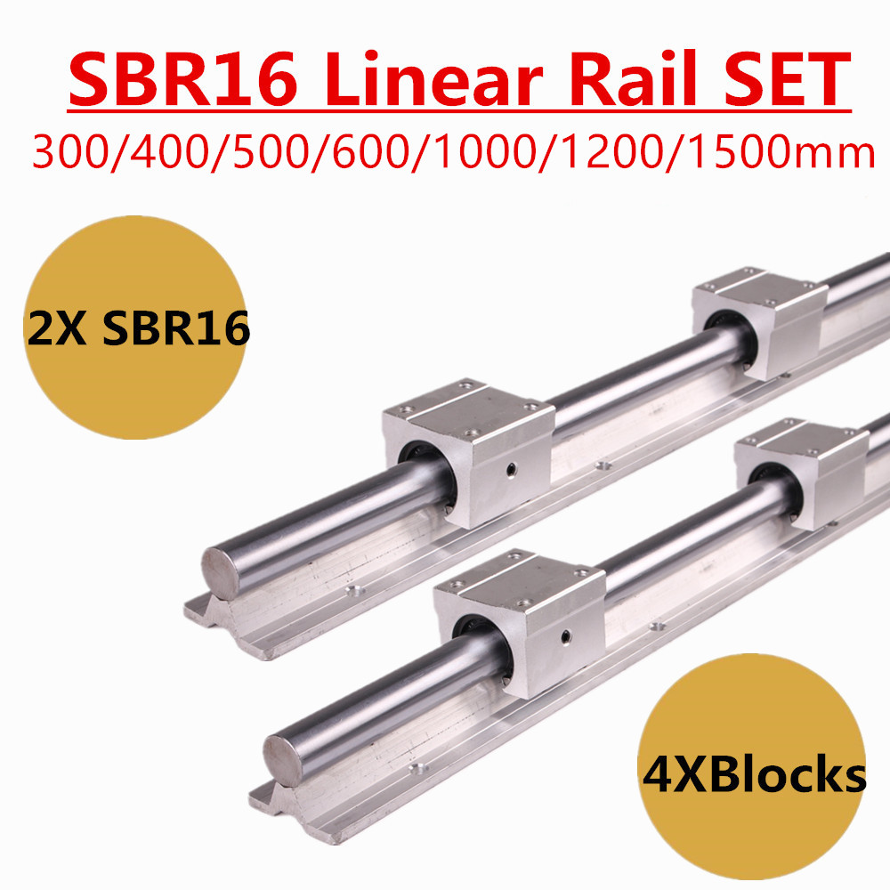 2pcs SBR16 16mm Linear Rail Guide 300 400 500 600 1000 1200 1500 Mm Fully Slide Support  + 4pcs SBR16UU Linear Bearing Block
