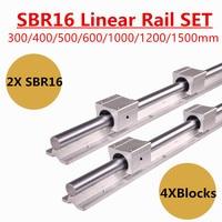 2pcs SBR16 16mm Linear Rail Guide 300 400 500 600 1000 1200 1500 mm Fully Slide Support + 4pcs SBR16UU Linear Bearing Block