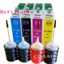 4Pack Refillable T1291 - T1294 Empty cartridge + 120ML Dye ink for WorkForce WF-3010DW WF-3520DWF WF-3530DTWF WF-3540DTWF
