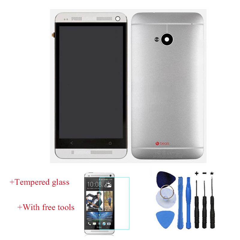 OEM LCD Touch Screen Digitizer With Front Housing Frame+ Battery Back Door Cover For HTC One M7 Silver With Free Tools