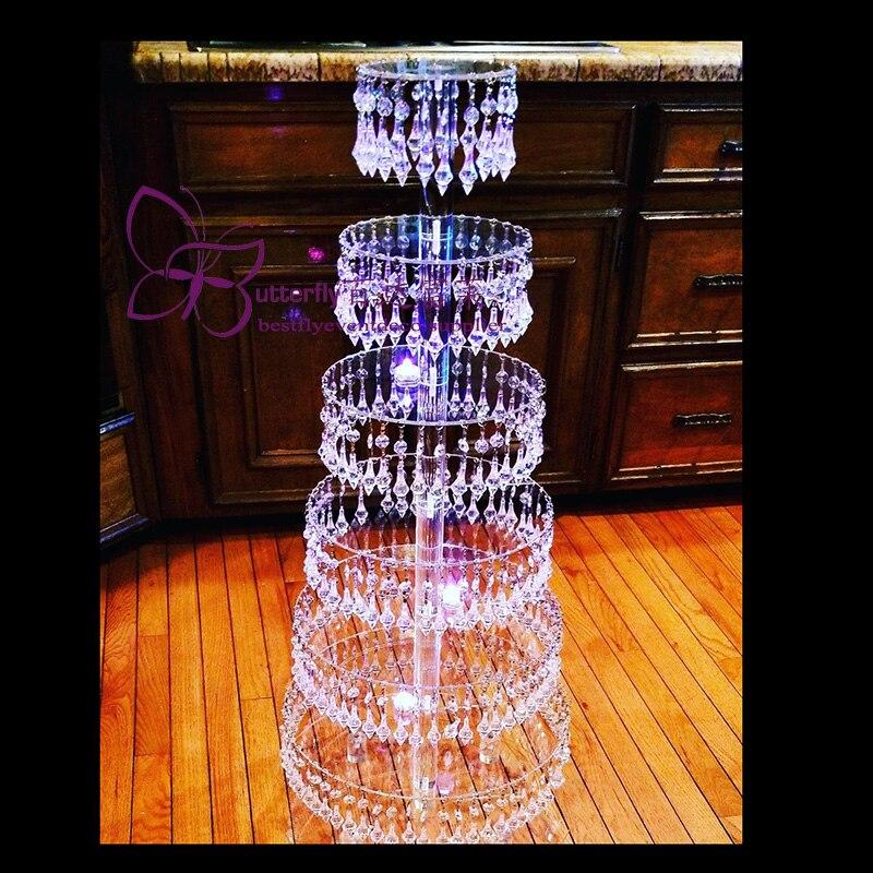 7 Tier Lampadario di cristallo cake stand Cupcake Torre Del Basamento Della Torta Festa di nozze Torre/centrotavola di nozze