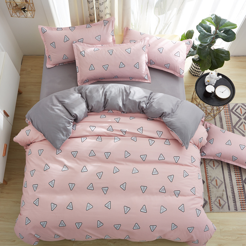 Bedding-Set Duvet-Cover Bed-Sheet Pink Pillowcase Queen Twin-Full New Geometric 1or2