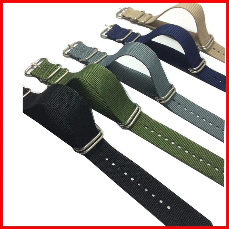 10 pieces / lot Zulu Military Retro 20 mm Army Sports Zulu Nylon watchband Watch Strap 5 Rings Bands 18 20 22 24mm Wholesale