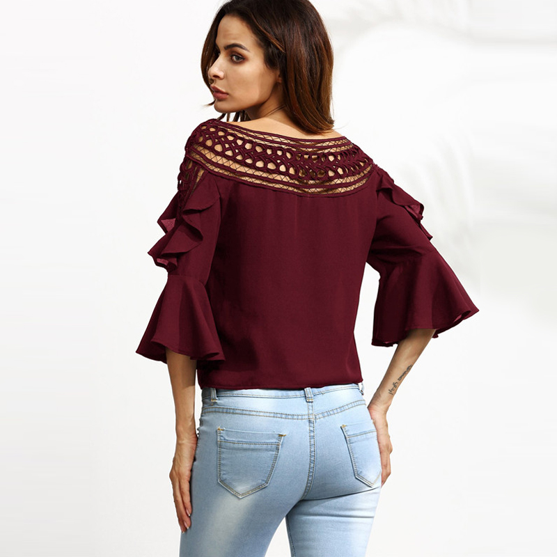 COLROVIE Burgundy Crochet Neck Bell Sleeve Hollow Out Ruffle Blouse ... c45f90485905
