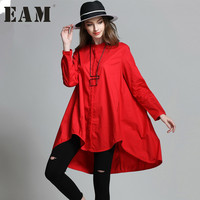[EAM] 2017 new autumn stand collar long sleeve solid color black red loose big size shirt women temperament HAA2773XL
