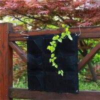 Large 9 Pockets Hanging Flower Pot Polyester Wall Mounted Vertical Gardening Flower Pot Planting Bag Living Indoor Wall