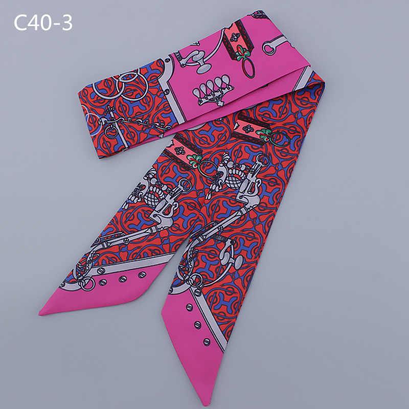 2018 sciarpa Di Seta Lettering Variety pack signore maniglie testa nastro skinny sciarpe, stretta lunga sciarpa