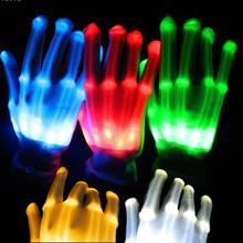 С подсветкой Перчатки пальцем свет Перчатки танцевальный клуб реквизит Зажгите игрушки Светящиеся уникальный Перчатки Glow красочные Скелет Перчатки A3