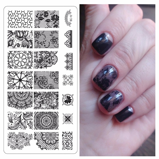 YZWLE 1 Pc Latest Nail Template Lace Pattern Nail Art Plate ...
