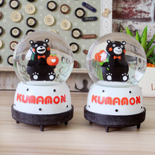 Grocery Wholesale Resin Decoration Table Decoration Cartoon Kumamon Gifts Crystal Ball Music Box