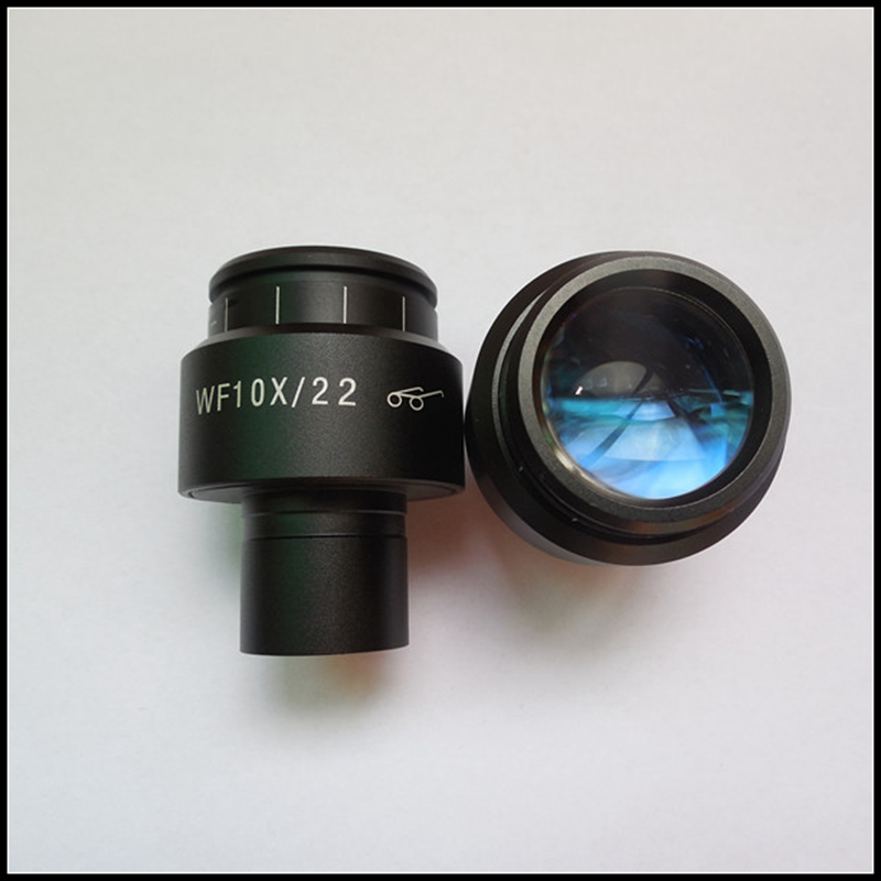 2PCS High Eye-point WF10X/22 Wide Field Microscope Eyepiece Optical Lens with Mounting Size 23.2mm Diopter Adjustment Plan Scope  цены