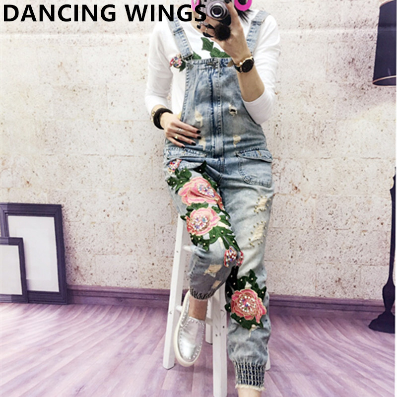 Spring Autumn Beaded Embroidered Flower Hole Denim Bib Overalls Casual Loose Jean Jumpsuit For Ladies