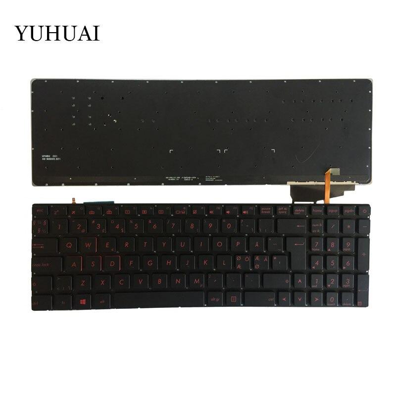 Nordic keyboard FOR ASUS GL552 GL552J GL552JX GL552V GL552VL GL552VW N552VW N552VX G771JM G771JW backlit black
