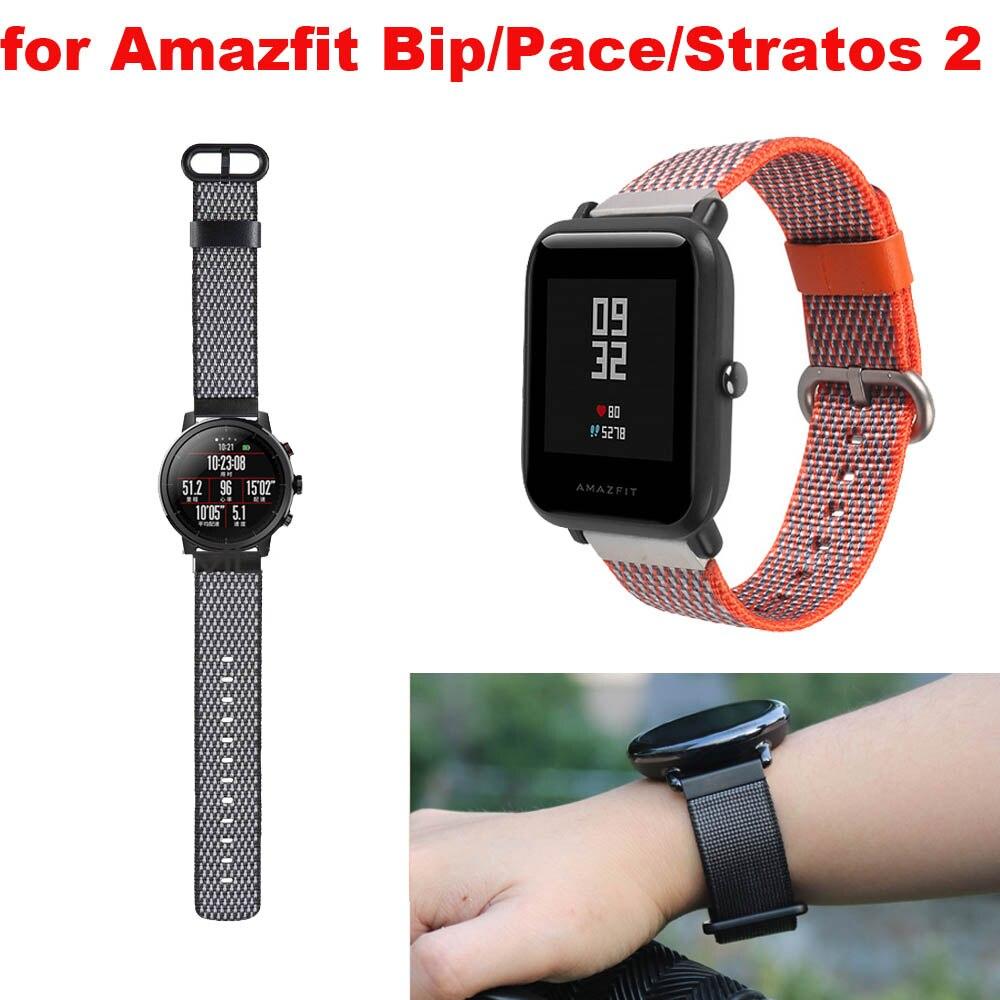 Amazfit Bracelet Watch Strap 20mm 22mm for Xiaomi Huami Amazfit Pace Bip Stratos 2 Correa Band Samsung Gear S2 S3 S4 Nylon Strap