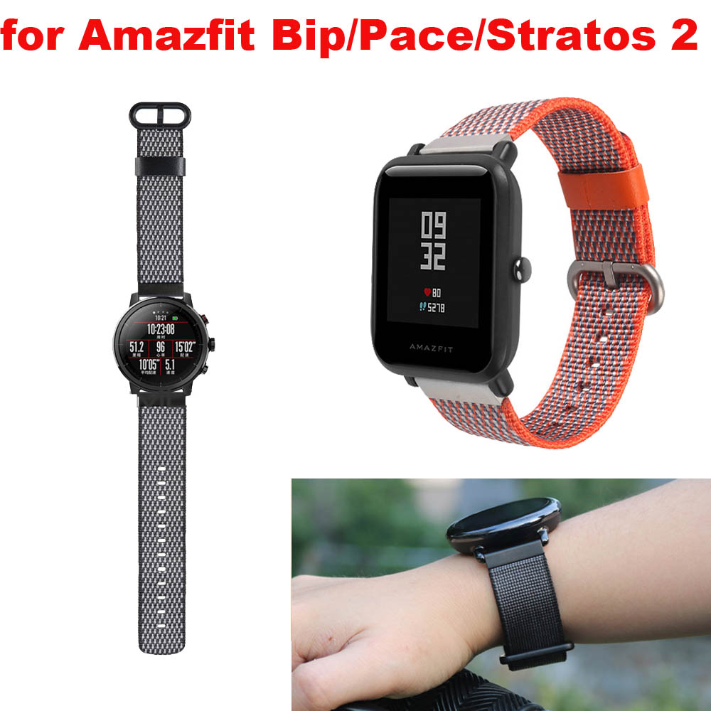 Amazfit Bracelet Watch Strap 20mm 22mm for Xiaomi Huami Amazfit Pace Bip Stratos 2 Correa Band Samsung Gear S2 S3 S4 Nylon Strap