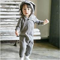 Cute Warm Spring Autumn Newbron Baby Boys Girls Rompers Zipper Hooded Rabbit Design Bunny Infant Boys
