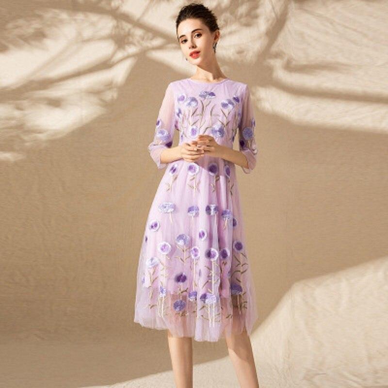 bfd6ad2e38b D été Floral Rétro Pu Longue Nouveau Broderie Partie Taille Printemps Femmes  Robes cou Ciel lavande ...