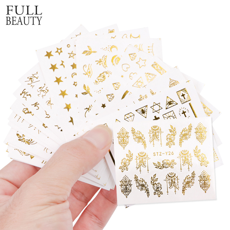 Full Beauty 20pcs Water Nail Sticker Gold Flower Vine Diamond Necklace Gel Polish Slider Accessories Nail Art Decals Sets CHYY20-in Stickers & Decals from Beauty & Health