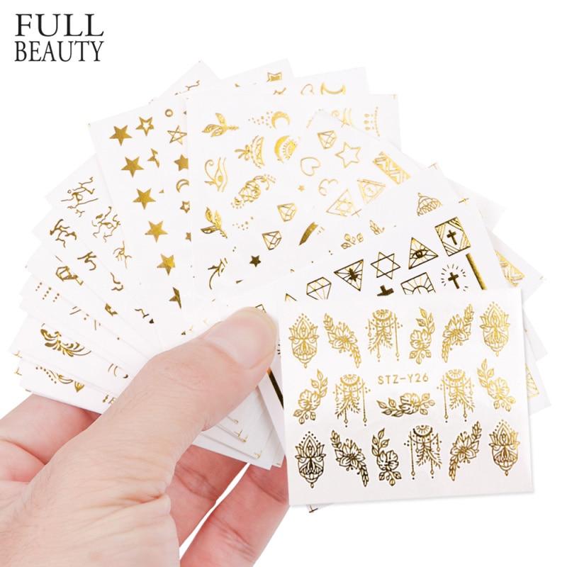 Full Beauty 20pcs Water Nail Sticker Gold Flower Vine Diamond Necklace Gel Polish Slider Accessories Nail Art Decals Sets CHYY20