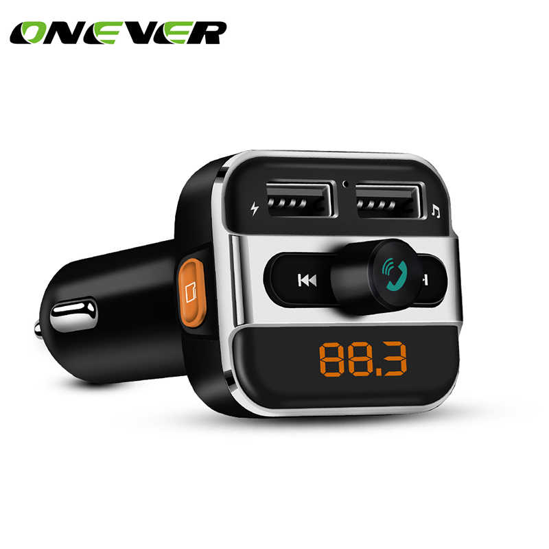 Onever de Audio de coche mp3 player FM Transmisor Inalámbrico Car manos libres Bluetooth con cargador 3.4A Dual USB TF ranura negro