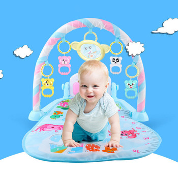 Baby Play Mat Kids Fitness Rack Piano Keyboard With Cute Animal Blanket Rattles Toys Baby Gym Crawling Activity Mat gifts