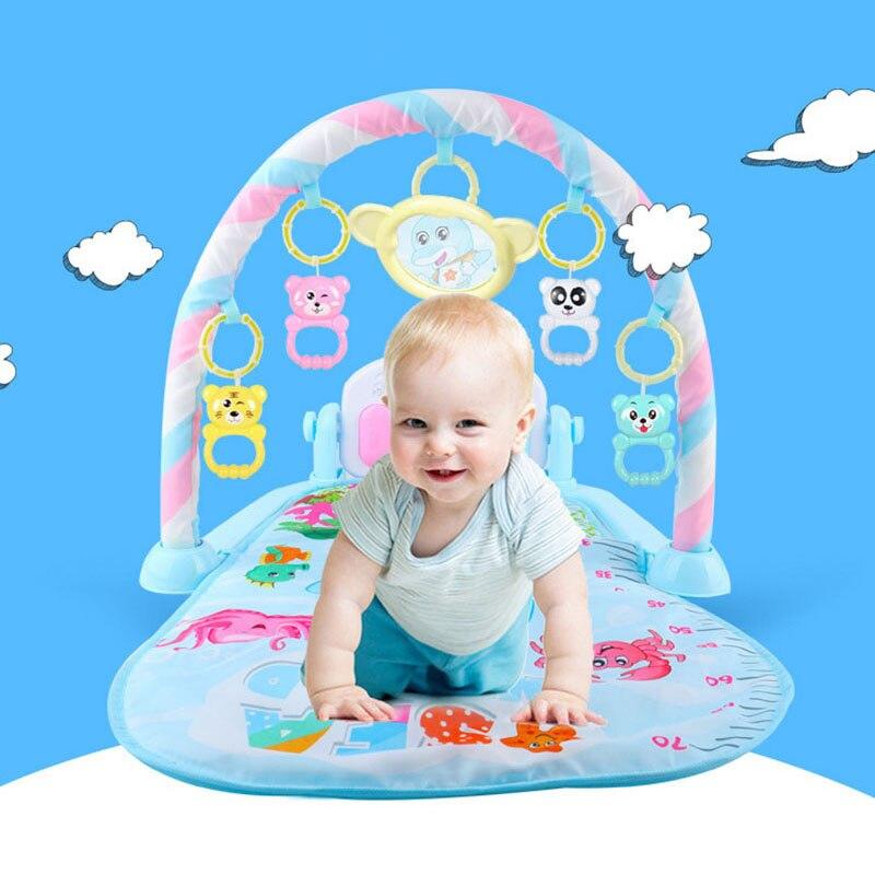 esteira do jogo do bebe criancas da aptidao teclado do piano da cremalheira com cobertor animal
