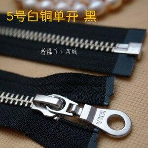 YKK 5 # металлический медный и медный одиночный Открытый молнии 20-120 см Черный пуховик одежда кардиган на молнии