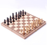 Funny Folding Wooden Chess Piece High Grade Grid International Checkers Chess Set Board Game Sports Entertainment
