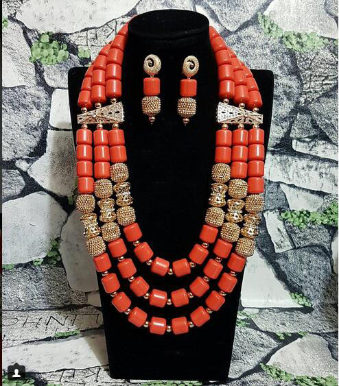 Artificial Coral Beads Indian Bridal Jewelry Set Dubai African Wedding Women Costume Necklace Set New Free Shipping CNR818