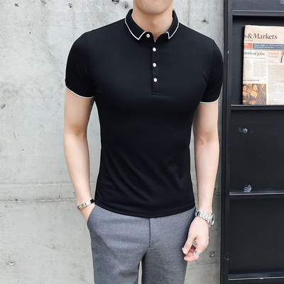 2019 summer simple inline men 39 s bottoming shirt solid color handsome lapel short sleeve casual British polo shirt tide in Polo from Men 39 s Clothing