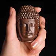 Buddha Statue Wood Wooden Sakyamuni Tathagata Figurine Mahogany India Buddha Head Statue 6cm