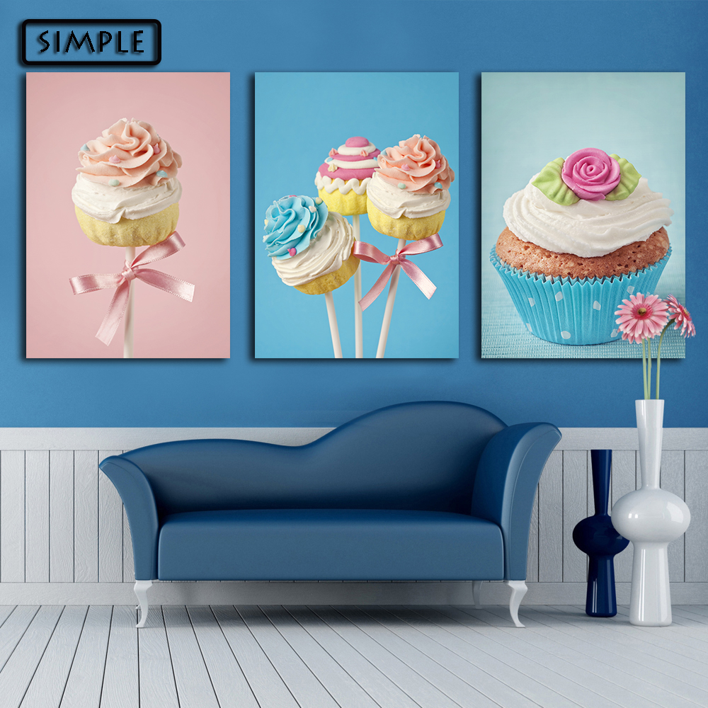 Oil painting canvas sweets cake wall art decoration for W home decor