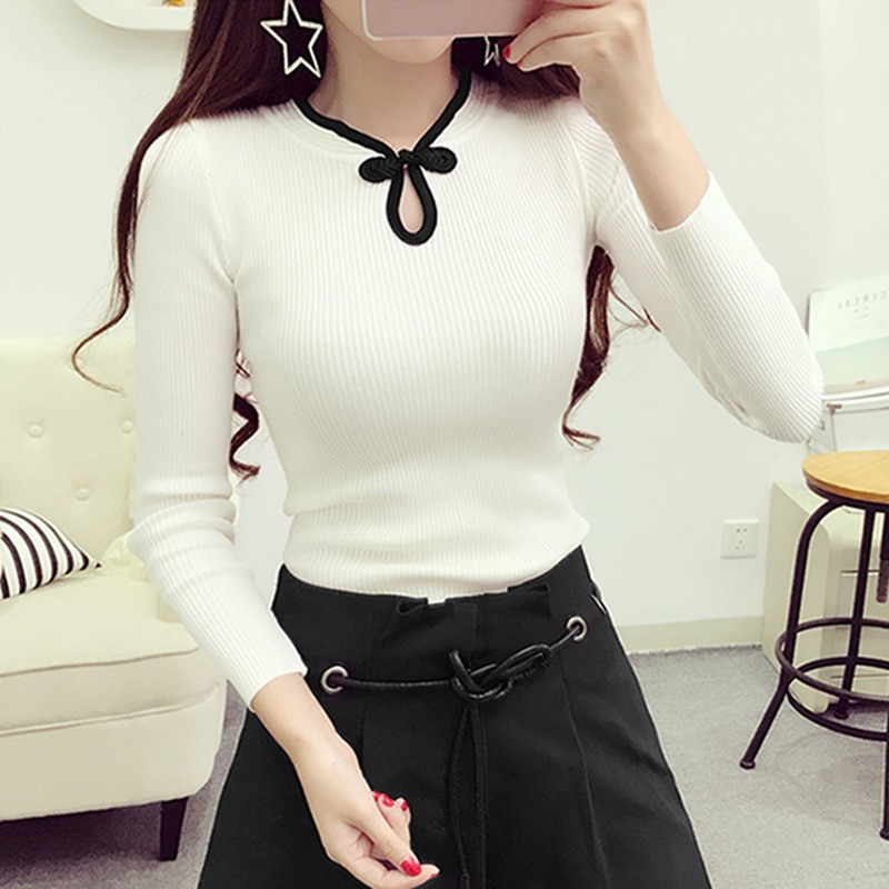 Vintage Knitted Pullover Women Sweater Slim Female Elegant Long Sleeve Lady Sweater