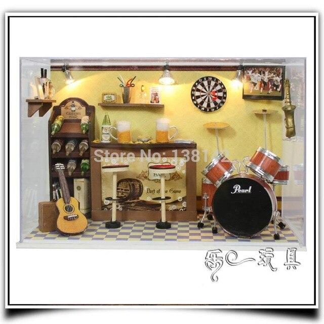 T008 Favorito Do Menino DIY Mini Bar Voz LEVOU Luz Casa De Bonecas Em  Miniatura Casa