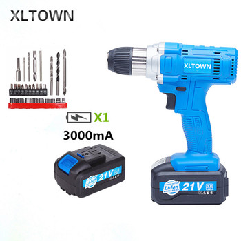 Xltown 21v 3000mA cordless drill  high-capacity rechargeable lithium battery Electric screwdriver Household electric drill bits