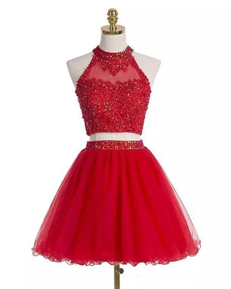 Bealegantom 2019 Red Short Prom Dresses Appliques Beaded Evening Party Gowns Homecoming Graduation Dress QA1567