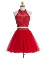 Bealegantom 2019 Red Short Prom Dresses Appliques Beaded Evening Party Gowns Homecoming Graduation Dress QA1567