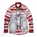 high quality 3dg Red and white striped monkey print Men's long-sleeved shirts fashion brand  Casual Shirt Slim Fit Social Shirts