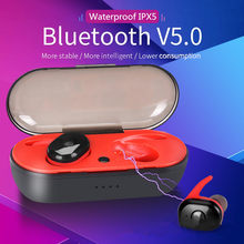 Tws Bluetooth 5.0 Earphone Stereo Nirkabel Headset Tahan Air Sport Earbud Portabel untuk Smartphone PK Hbq(China)