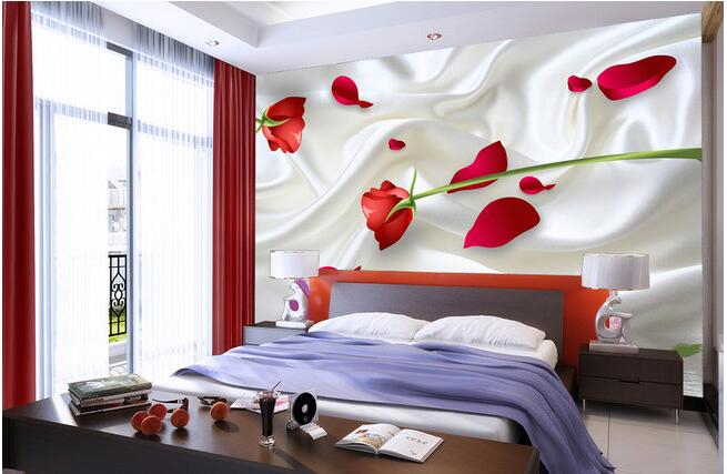 Wallpaper Custom Mural Non Woven Wall Stickers 3 D Red Roses Background For Walls
