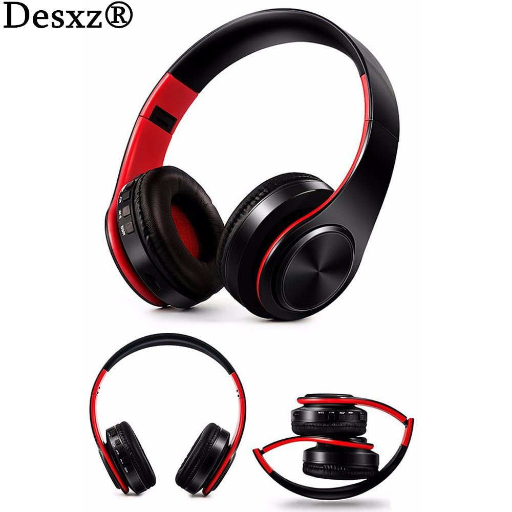 Desxz T5 Headphone HiFi Bass Stereo Bluetooth Wireless Headset With Mic TF Card Slot Foldable Earphone Headphones headphones blutooth 4 1 wireless foldable sport earphone microphone headset with tf card slot mp3 player music earphone earpiece