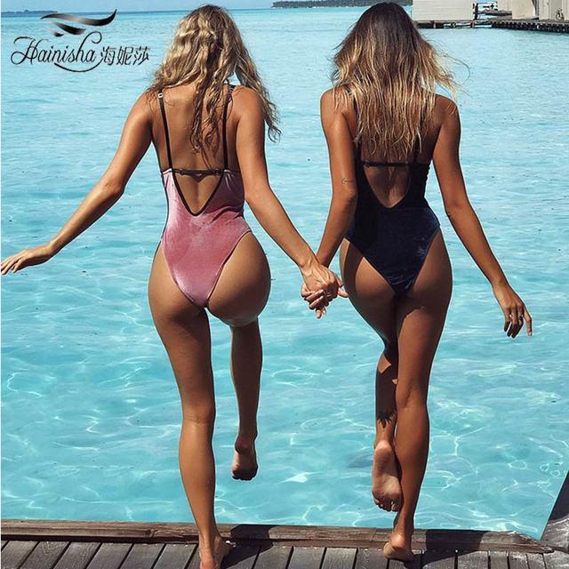 2018 новые бархатные пляжная одежда Цельный купальник Для женщин бандо Монокини Купальники для малышек Mujer спинки боди Maillot De Bain bating костюм