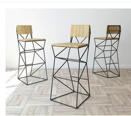Real wood bar chair. High chair. Back to fashion creative stools real wood bar chair european bar chair iron art chair rotate the front chair